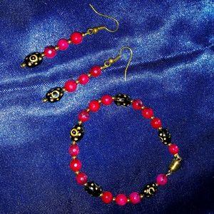 Rhodolite Garnet w/African bead earrings & braclet